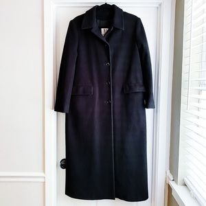 JONES NEW YORK Black Long Wool Coat Size 8